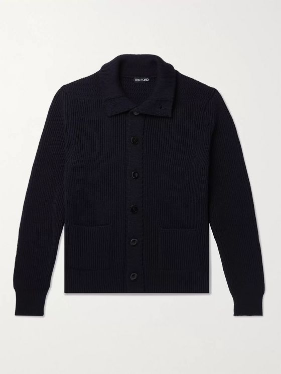 TOM FORD Slim-Fit Ribbed Wool and Cashmere-Blend Cardigan