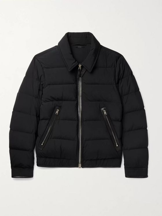 TOM FORD Slim-Fit Leather-Trimmed Quilted Shell Down Jacket