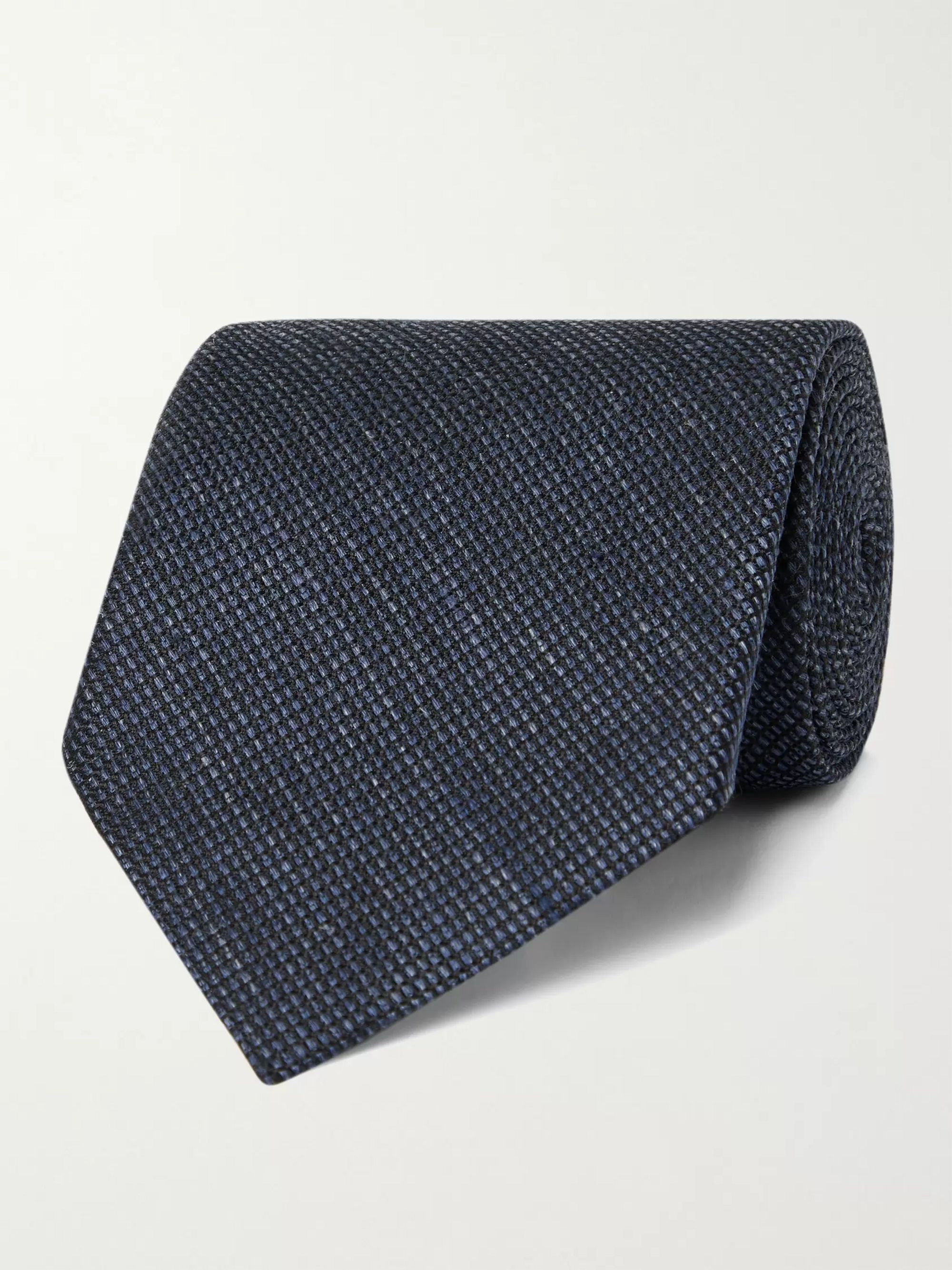 탐 포드 Tom Ford 8cm Silk and Linen-Blend Tie,Blue