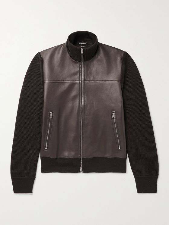 TOM FORD Panelled Leather and Merino Wool Blouson Jacket