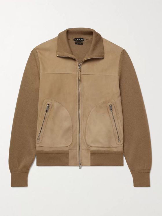 TOM FORD Panelled Suede and Merino Wool Blouson Jacket