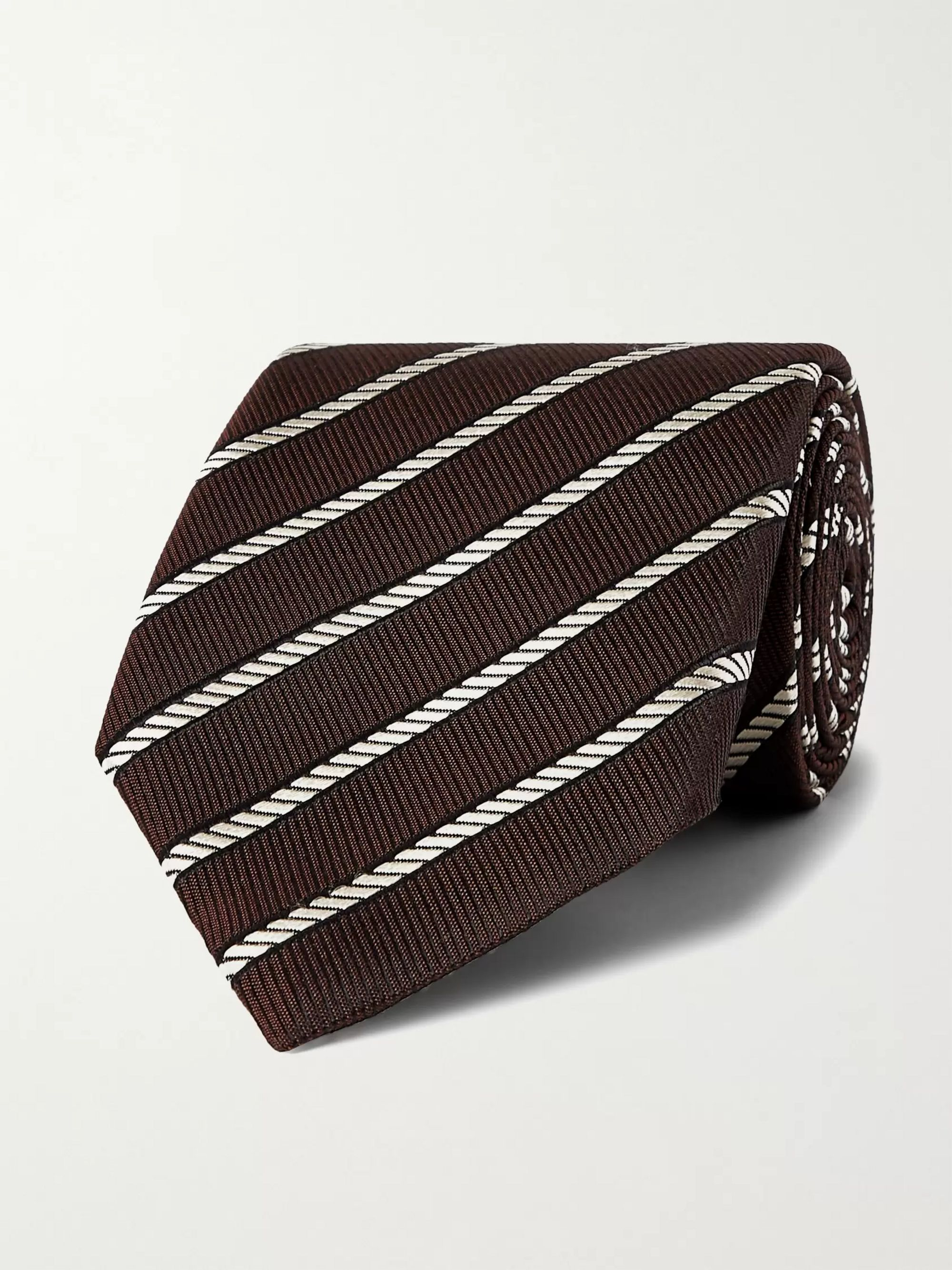 탐 포드 Tom Ford 8cm Striped Silk-Jacquard Tie,Brown