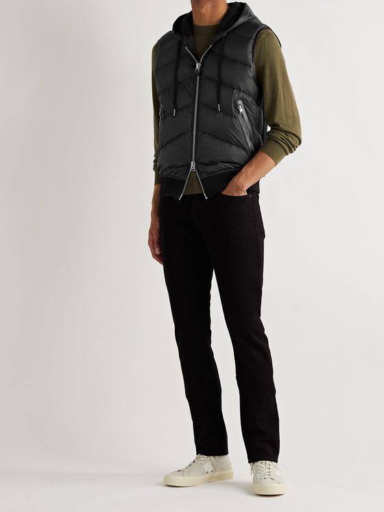 TOM FORD Leather-Trimmed Quilted Shell and Cotton-Jersey Down Hooded Gilet