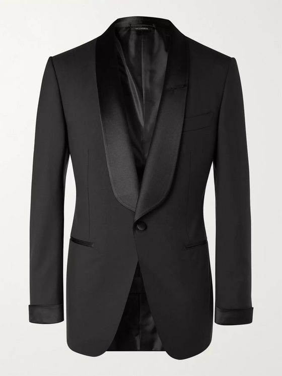 TOM FORD Slim-Fit Shawl-Collar Satin-Trimmed Wool Tuxedo Jacket