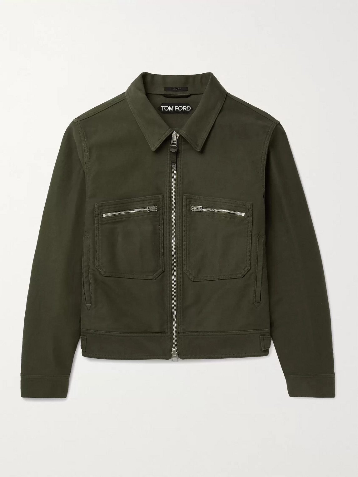 Tom Ford GARMENT-DYED BRUSHED-COTTON BLOUSON JACKET