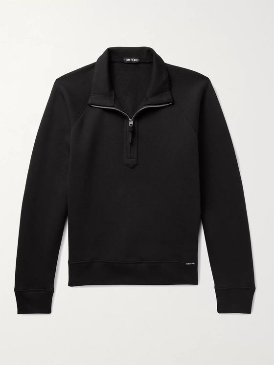 TOM FORD Garment-Dyed Fleece-Back Cotton-Jersey Half-Zip Sweatshirt