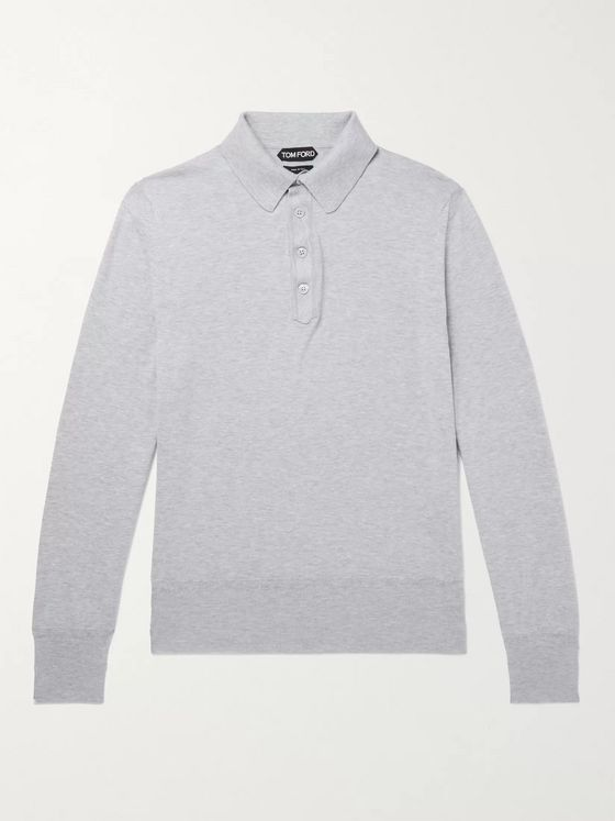 TOM FORD Slim-Fit Mélange Sea Island Cotton Polo Shirt