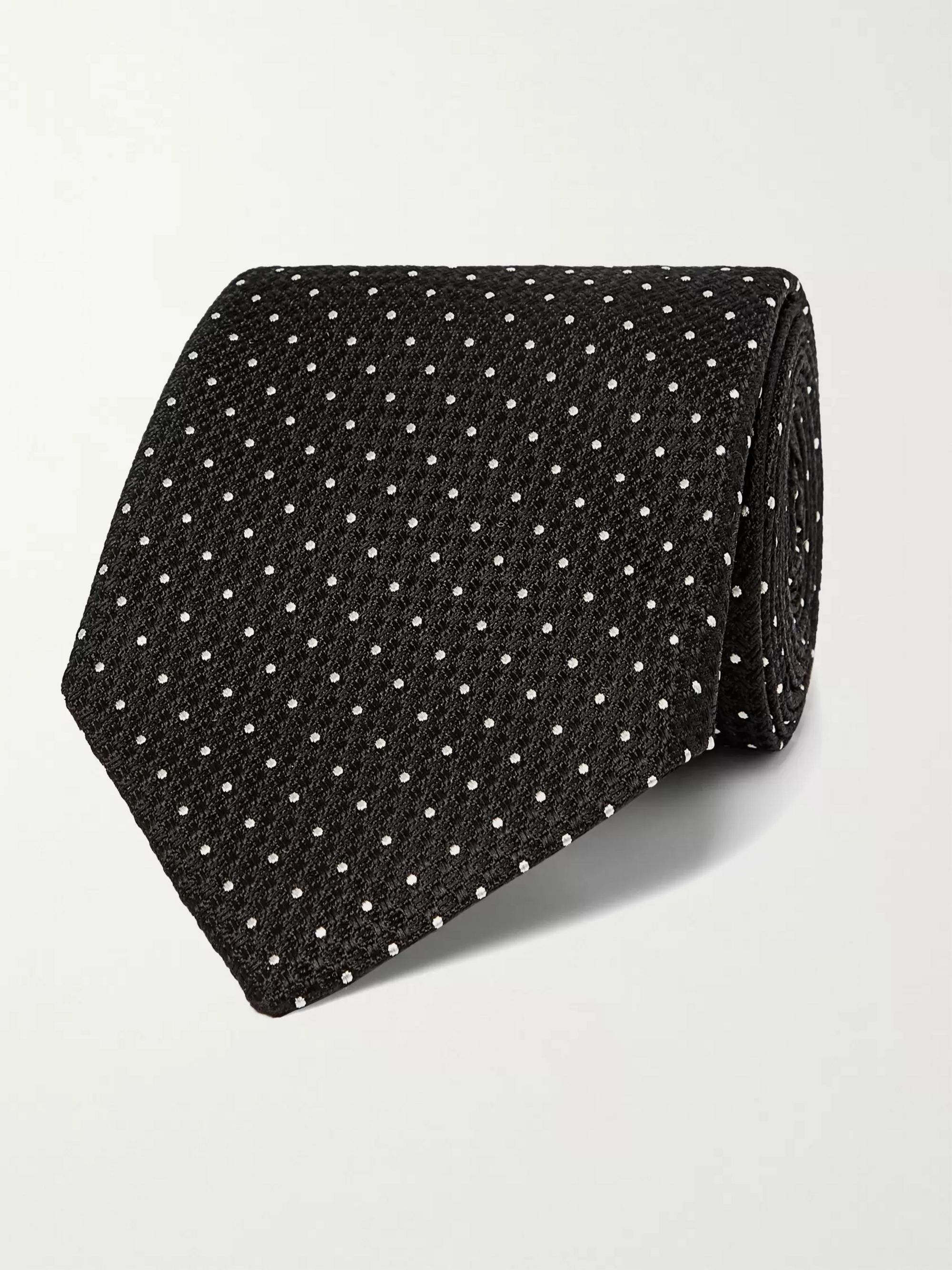 탐 포드 Tom Ford 8cm Pin-Dot Textured-Silk Tie,Black