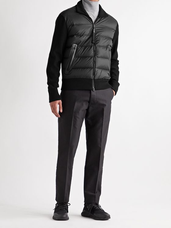 TOM FORD Leather-Trimmed Ribbed Wool and Quilted Shell Down Jacket