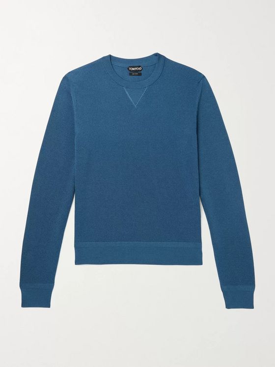 TOM FORD Slim-Fit Cotton-Blend Piqué Sweater