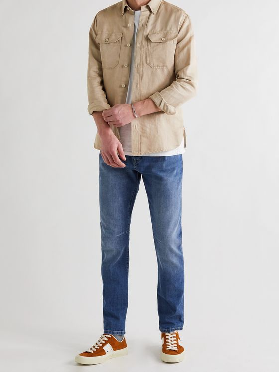 TOM FORD Slim-Fit Button-Down Collar Garment-Dyed Linen and Cotton-Blend Shirt