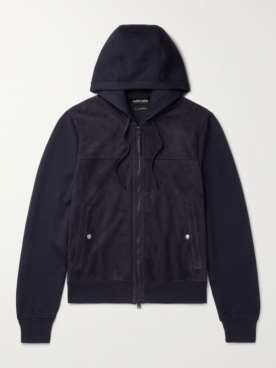 TOM FORD Panelled Merino Wool and Suede Hooded Jacket