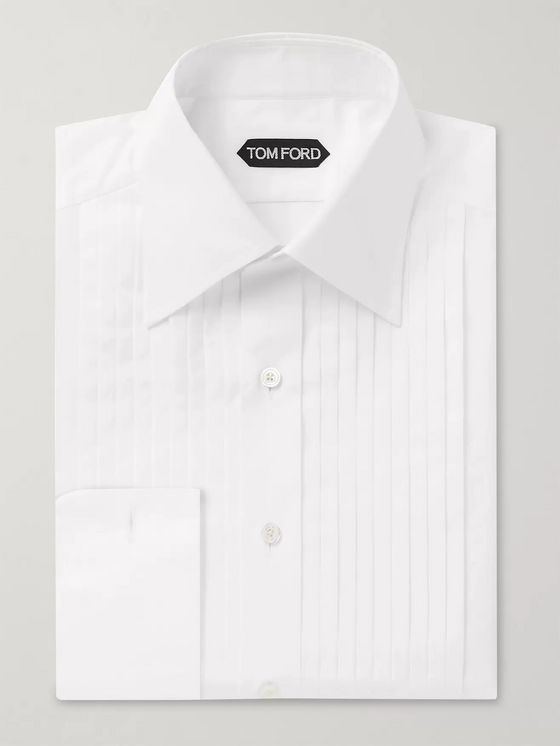 TOM FORD Slim-Fit Bib-Front Cotton-Poplin Tuxedo Shirt