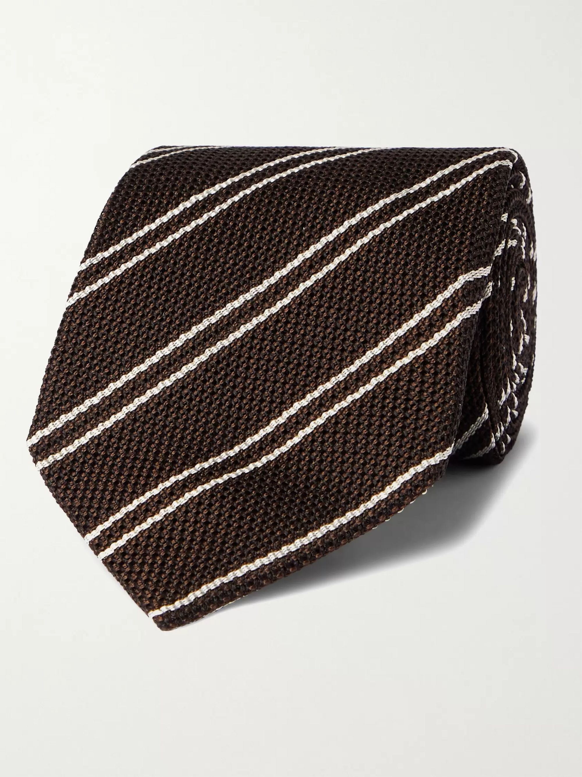 탐 포드 Tom Ford 8cm Striped Silk Tie,Brown