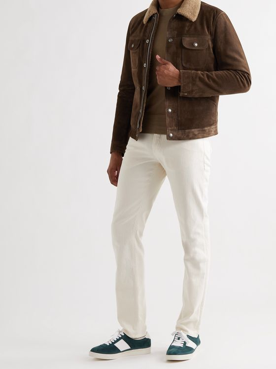 TOM FORD Slim-Fit Shearling-Trimmed Suede Trucker Jacket