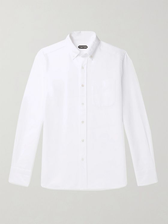 TOM FORD Slim-Fit Button-Down Collar Cotton-Poplin Shirt