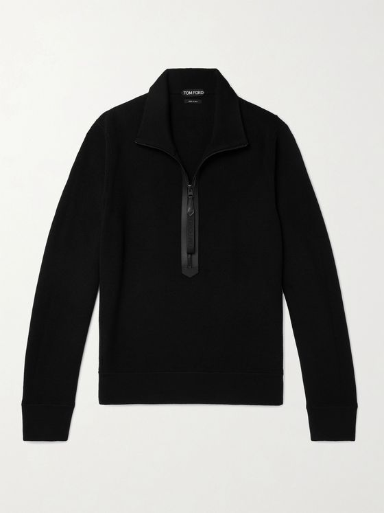 TOM FORD Leather-Trimmed Merino Wool Half-Zip Sweater