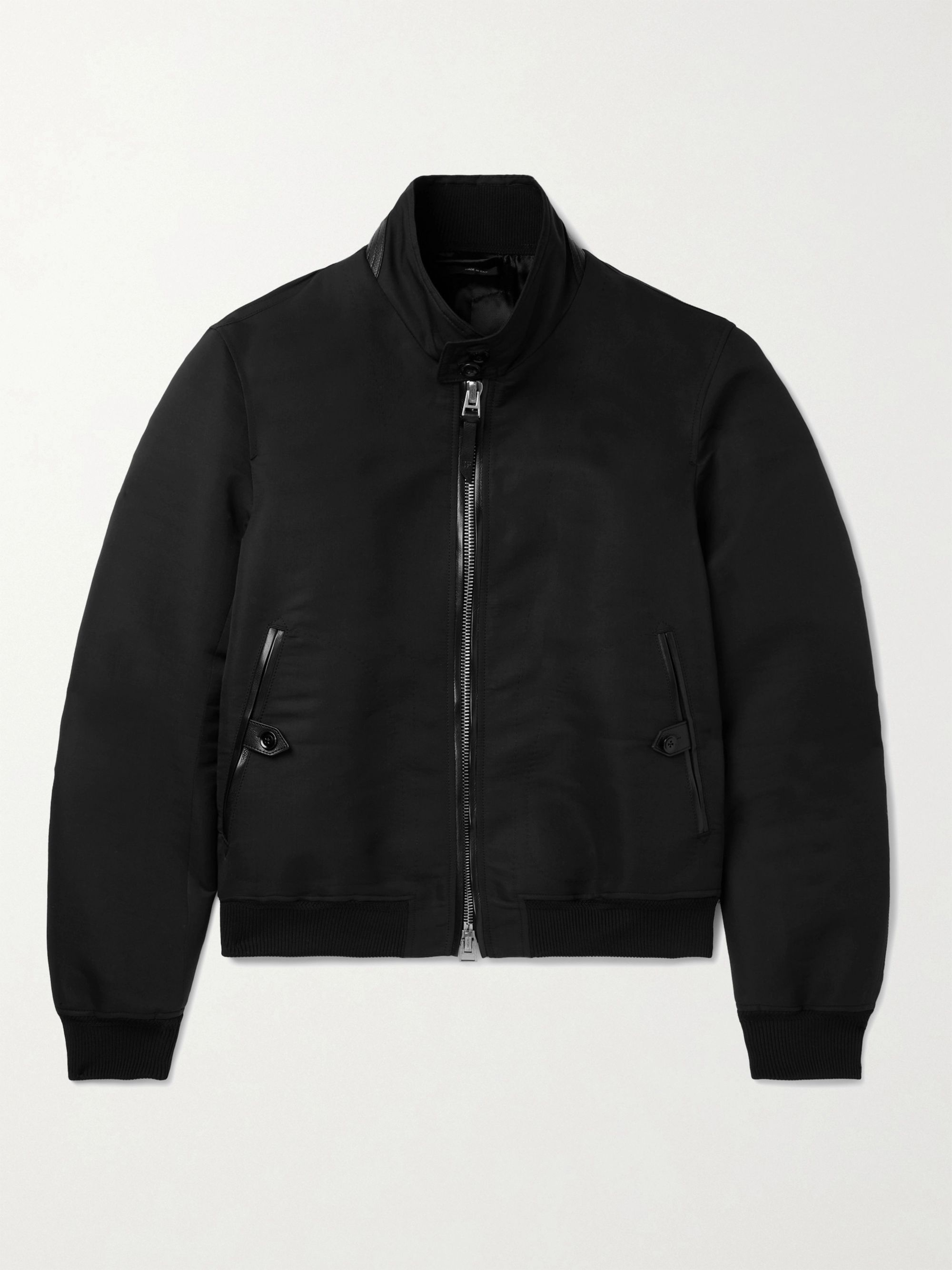 TOM FORD Slim-Fit Leather-Trimmed Garment-Dyed Cotton and Silk-Blend Poplin Harrington Jacket