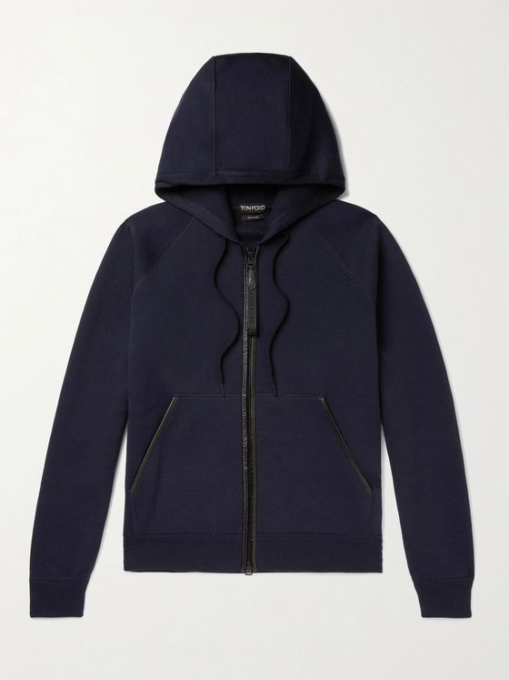 TOM FORD Leather-Trimmed Double-Faced Cotton-Blend Jersey Zip-Up Hoodie