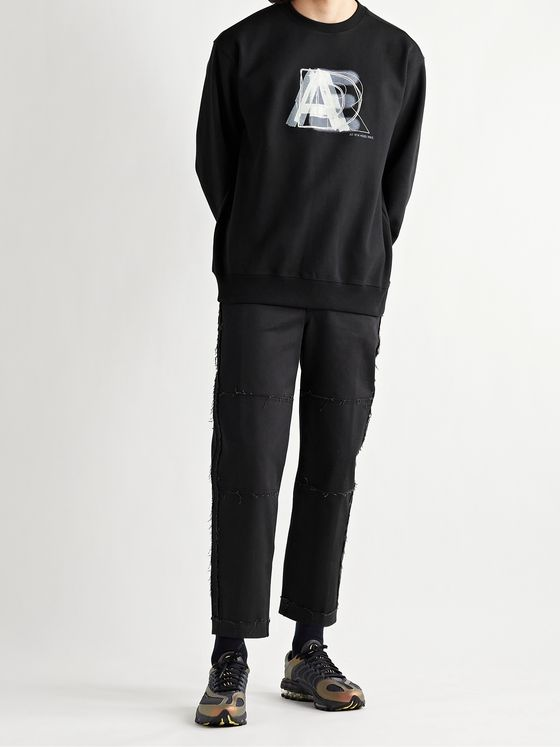 Ader Error Printed Embroidered Fleece-Back Cotton-Blend Jersey Sweatshirt