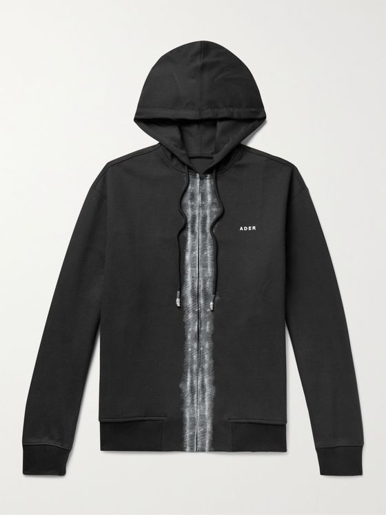 Ader Error Logo-Embroidered Distressed Cotton-Blend Zip-Up Hoodie