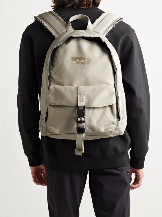 Ader Error BP02 Distressed Logo-Print Cotton-Twill Backpack