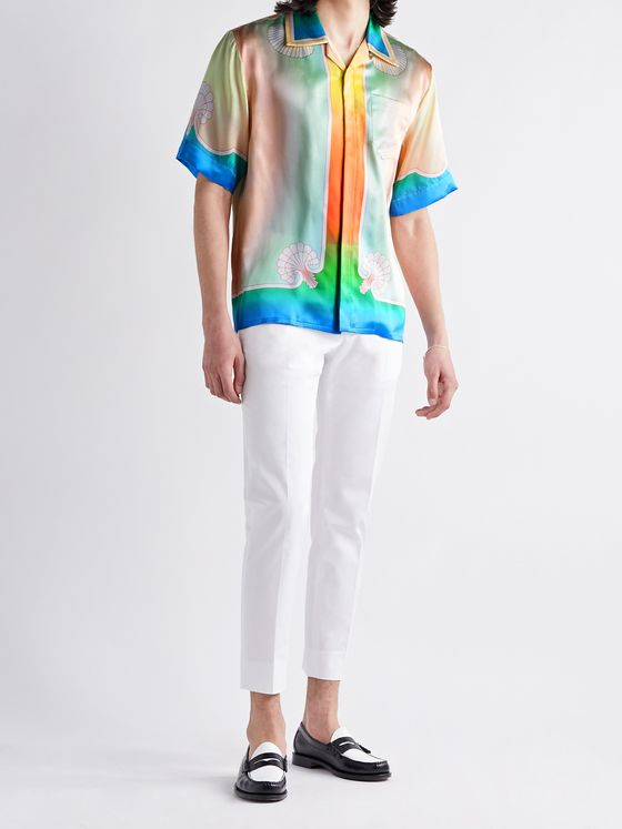 CASABLANCA Lucid Dreams Camp-Collar Printed Silk-Satin Shirt