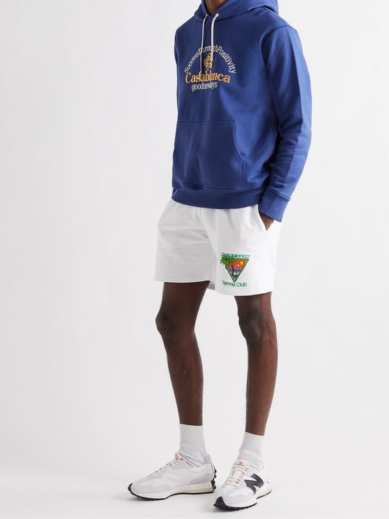 CASABLANCA Embroidered Organic Cotton-Jersey Hoodie