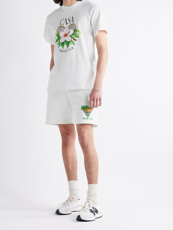 CASABLANCA Embroidered Organic Loopback Cotton-Jersey Drawstring Shorts