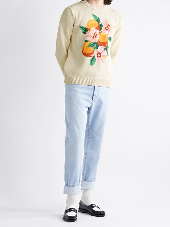 CASABLANCA Intarsia-Knit Cotton Sweater