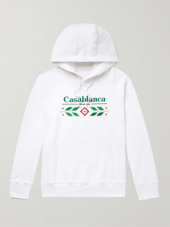 Casablanca Laurel Logo-Embroidered Loopback Organic Cotton-Jersey Hoodie