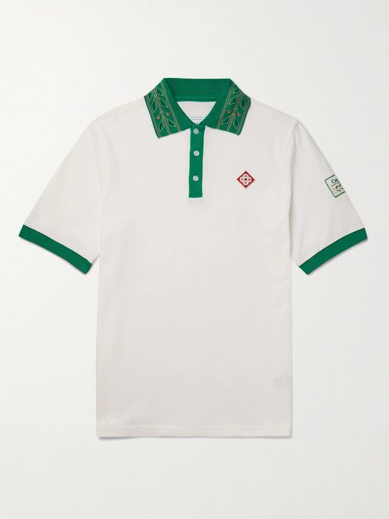 CASABLANCA Laurel Logo-Appliquéd Cotton-Piqué Polo Shirt