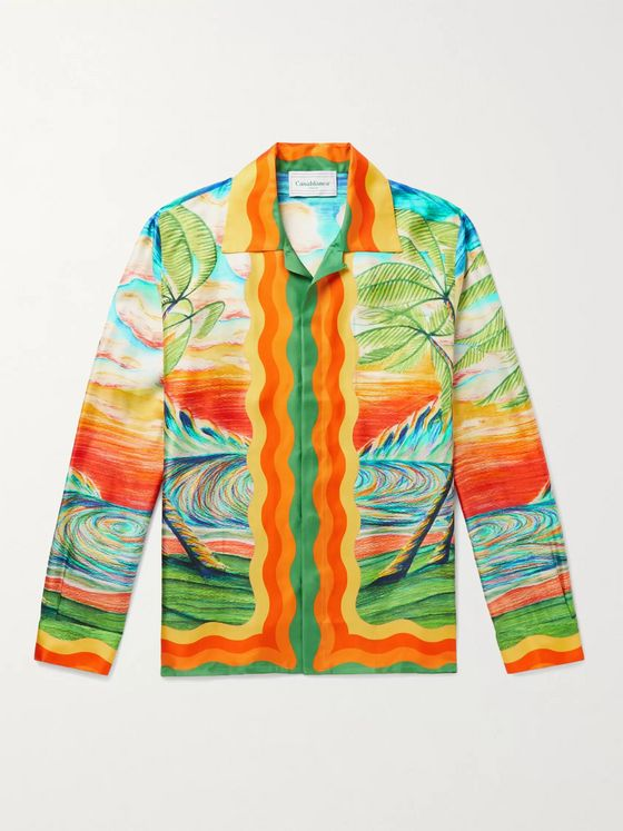 CASABLANCA Camp-Collar Printed Silk-Twill Shirt
