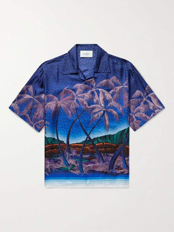 CASABLANCA Nuit A Maui Camp-Collar Printed Silk-Twill Shirt