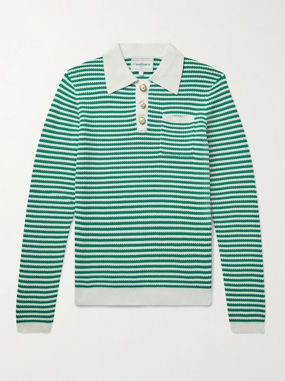 CASABLANCA Striped Cotton Polo Shirt