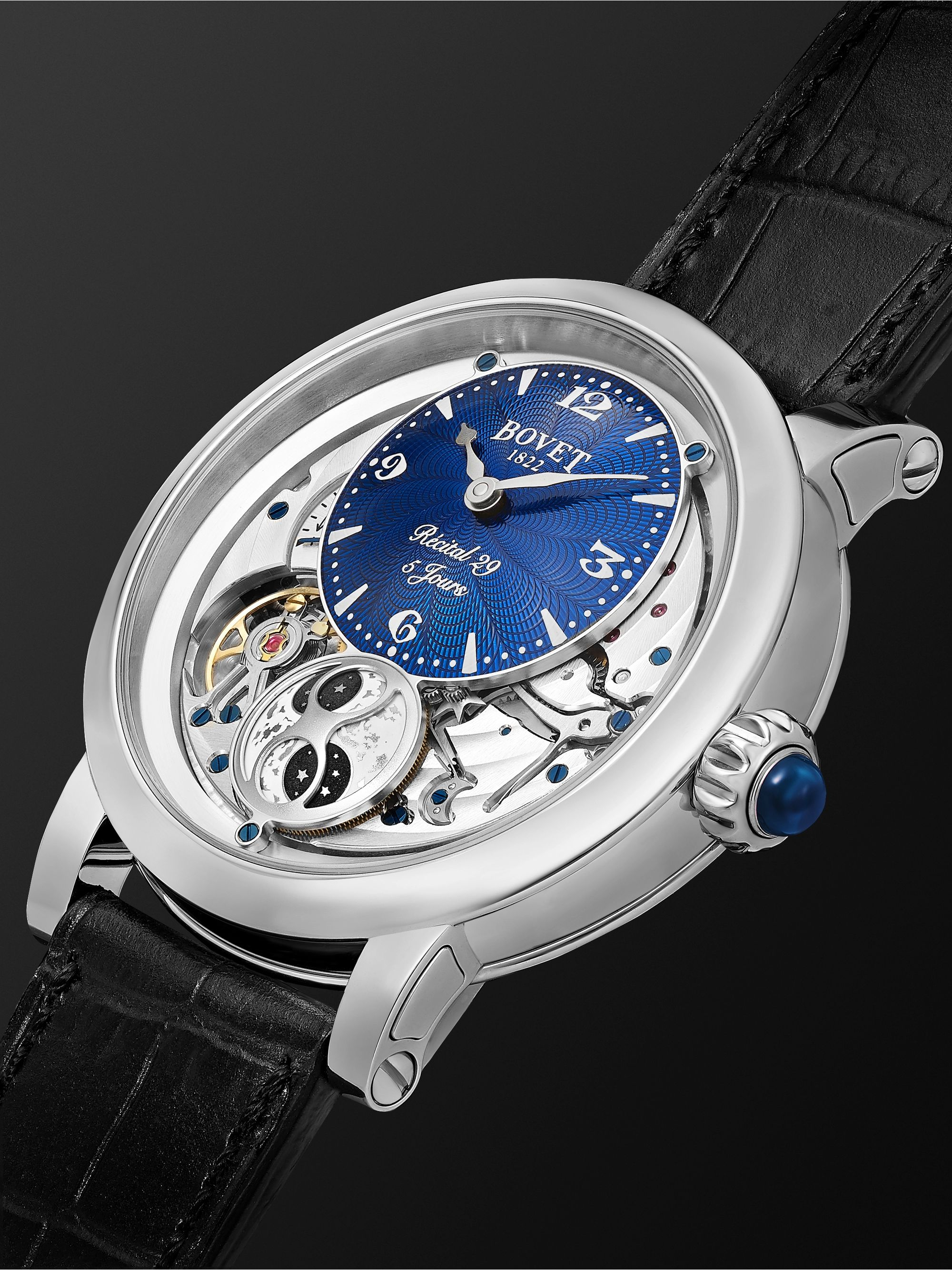Bovet Récital 29 Moon-Phase 42mm Stainless Steel and Leather Watch, Ref. No. R290002