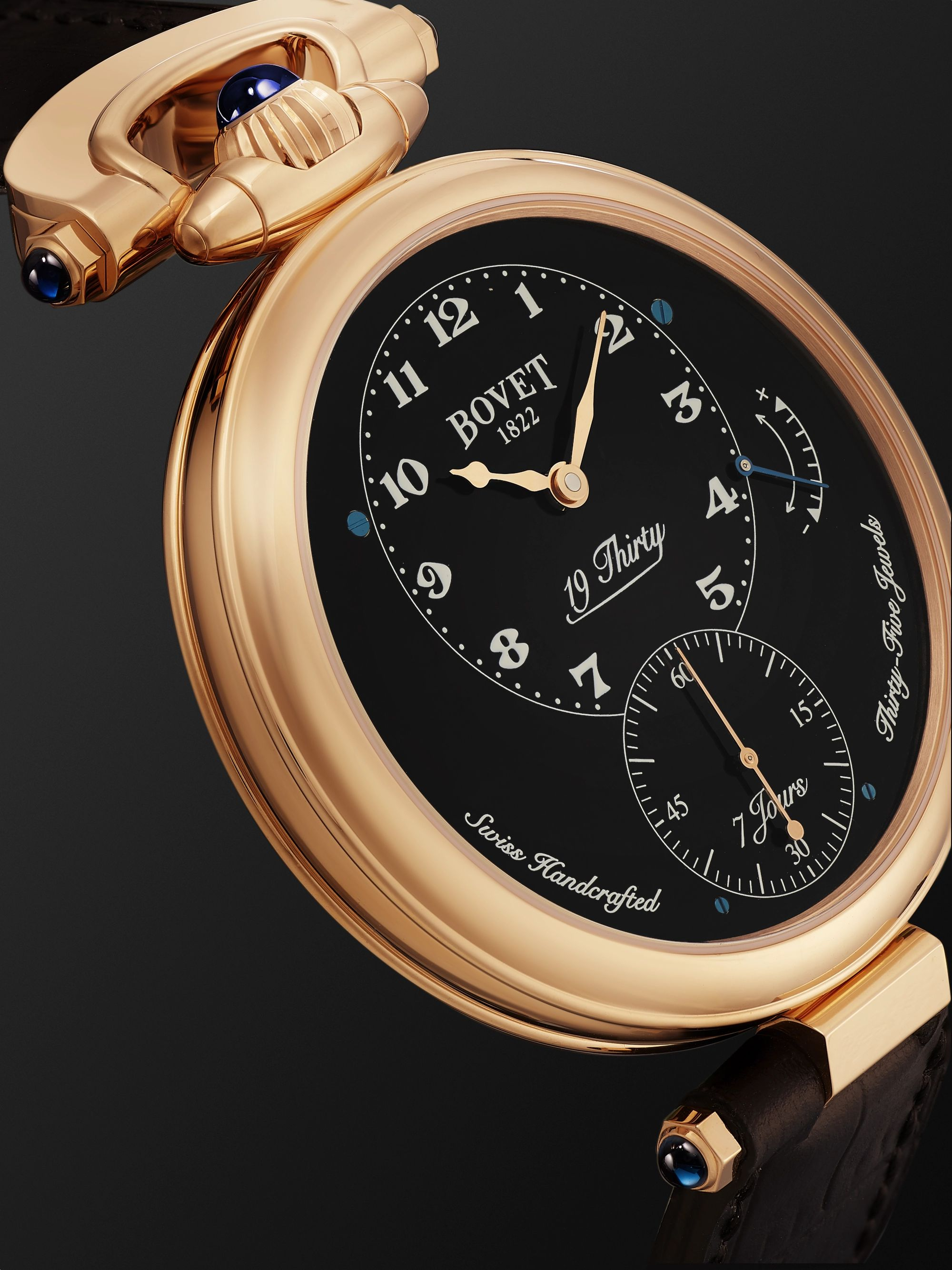 BOVET 19Thirty Fleurier Hand-Wound 42mm 18-Karat Rose Gold and Leather Watch, Ref. No. NTR0029