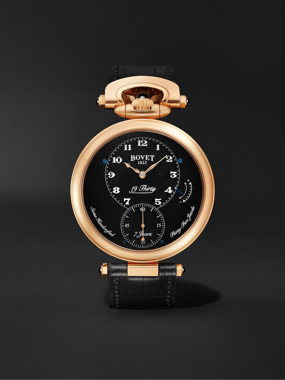 Bovet 19thirty Fleurier Hand-wound 42mm 18-karat Rose Gold And Leather Watch, Ref. No. Ntr0029 In Black