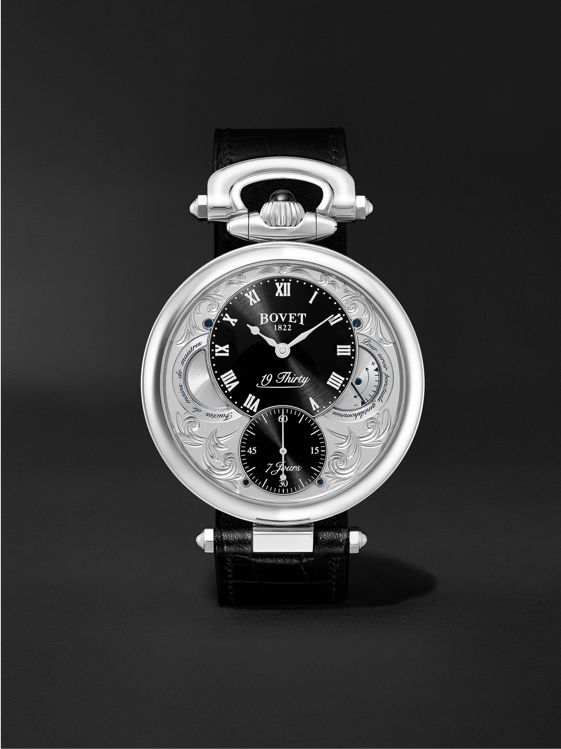 Bovet 19thirty Fleurier Hand-wound 42mm Stainless Steel And Croc-effect Leather Watch, Ref. No. Nts0016 In Silver