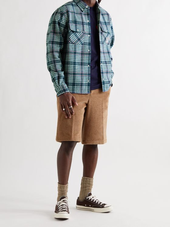 BILLIONAIRE BOYS CLUB Button-Down Collar Logo-Appliquéd Checked Flannel Shirt