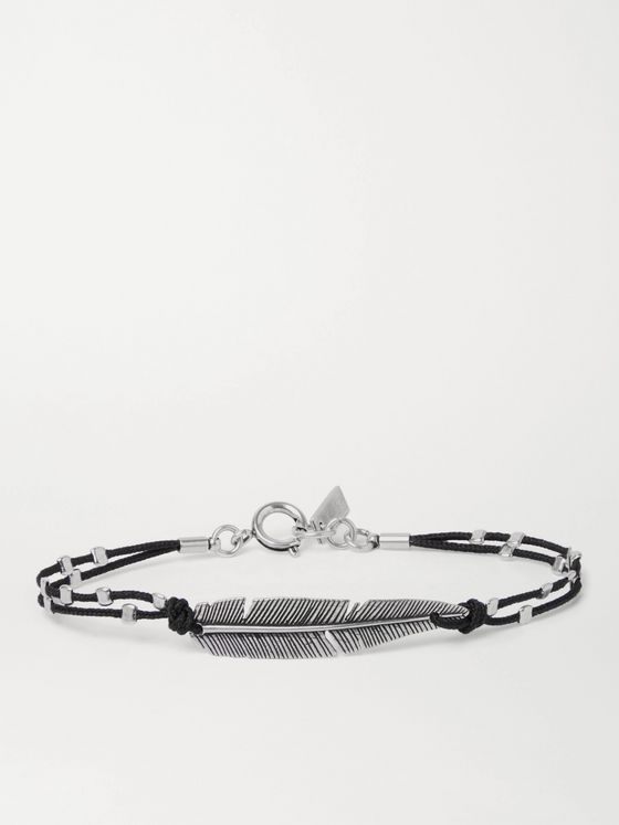 ISABEL MARANT Feather Silver-Tone and Cord Bracelet