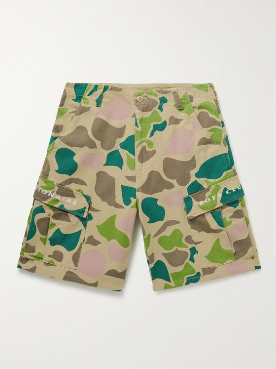 BILLIONAIRE BOYS CLUB Logo-Embroidered Camouflage-Print Denim Cargo Shorts