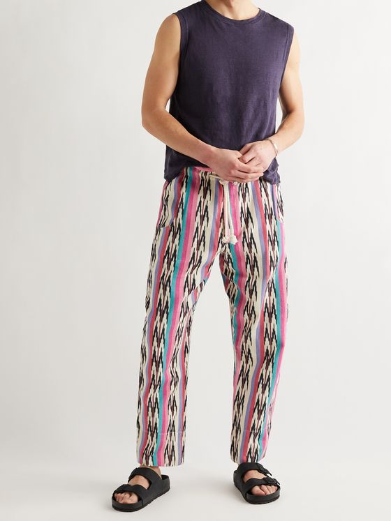 ISABEL MARANT Iago Striped Cotton-Jacquard Drawstring Trousers