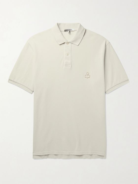 ISABEL MARANT Anafiko Logo-Embroidered Cotton-Piqué Polo Shirt