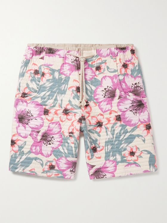 ISABEL MARANT Helani Quilted Floral-Print Cotton Drawstring Shorts