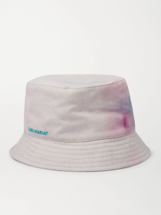 ISABEL MARANT Haleyh Logo-Embroidered Tie-Dyed Denim Bucket Hat