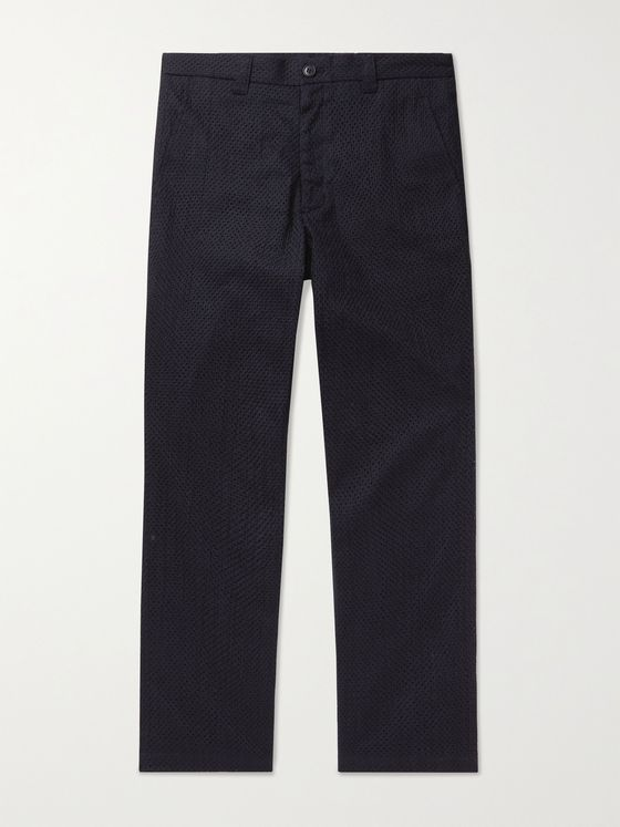 BLUE BLUE JAPAN Tapered Cropped Textured-Cotton Suit Trousers