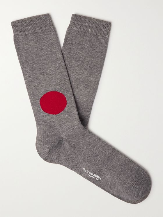 BLUE BLUE JAPAN Cotton-Blend Intarsia Socks