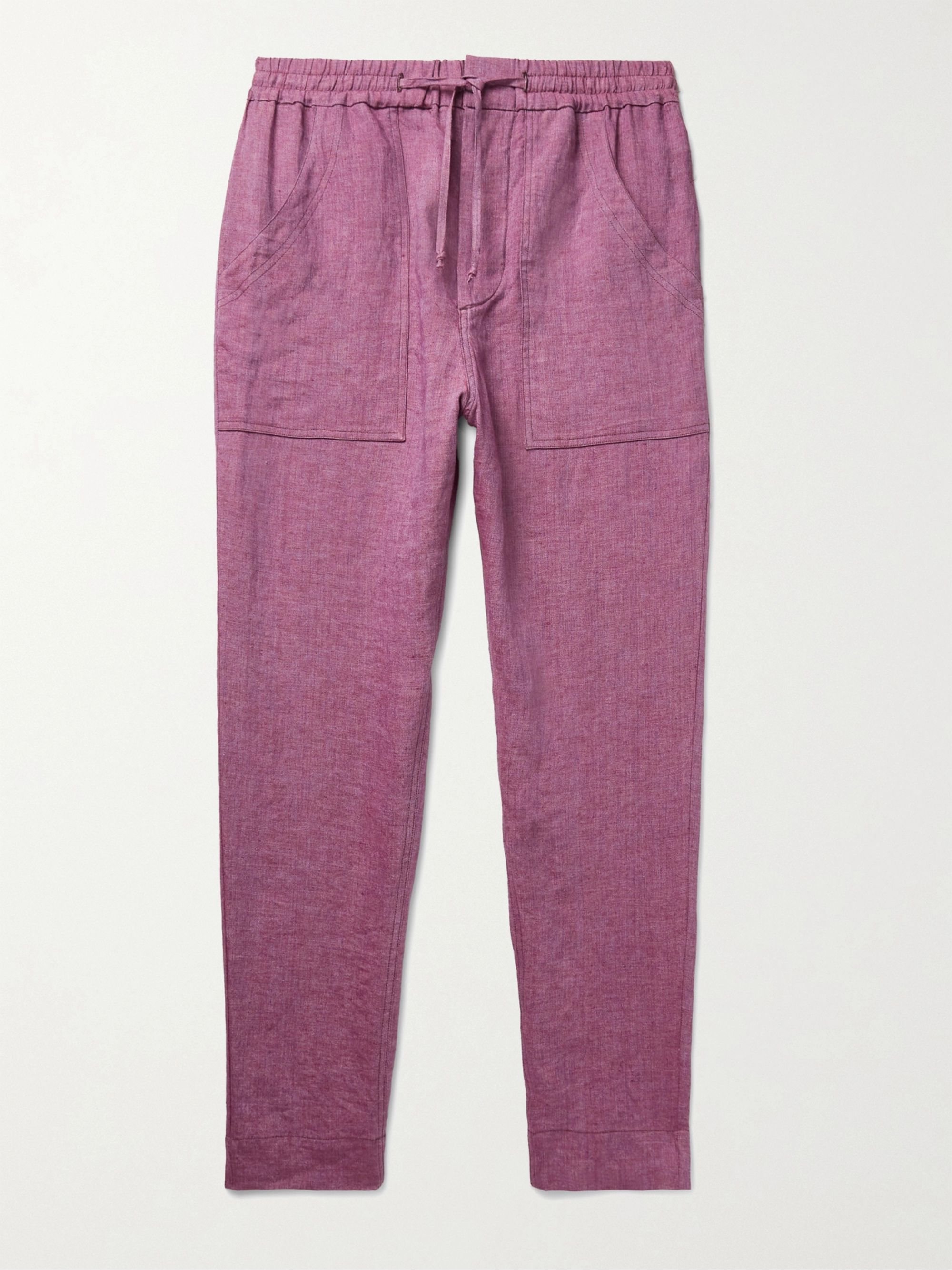ISABEL MARANT Necim Tapered Linen-Chambray Drawstring Trousers