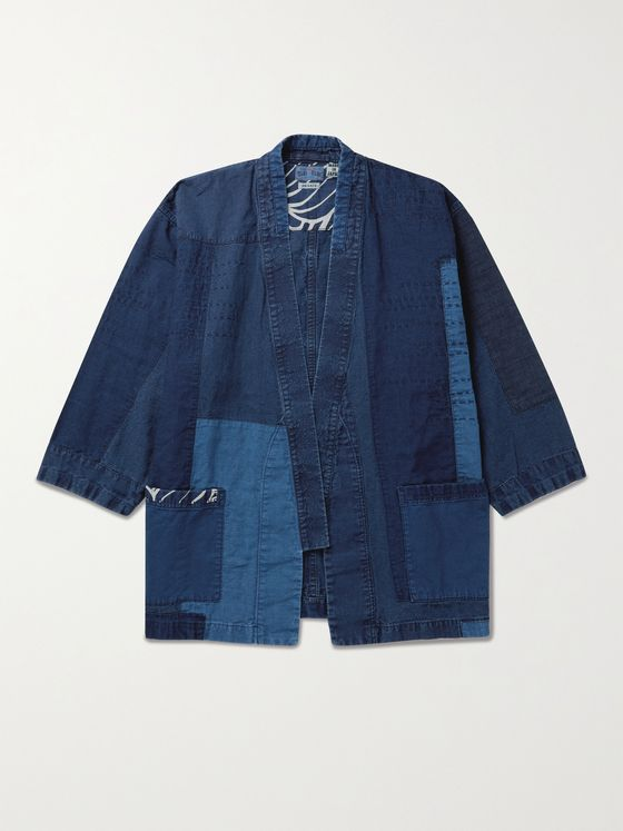 BLUE BLUE JAPAN Patchwork Indigo-Dyed Linen Jacket